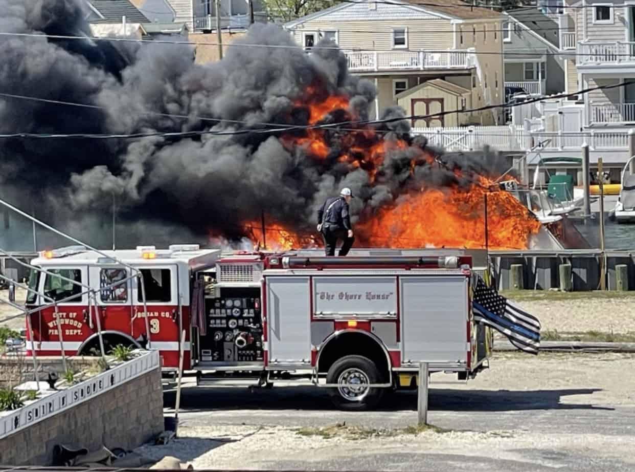 Boat Fire In Wildwood's Otten Harbor