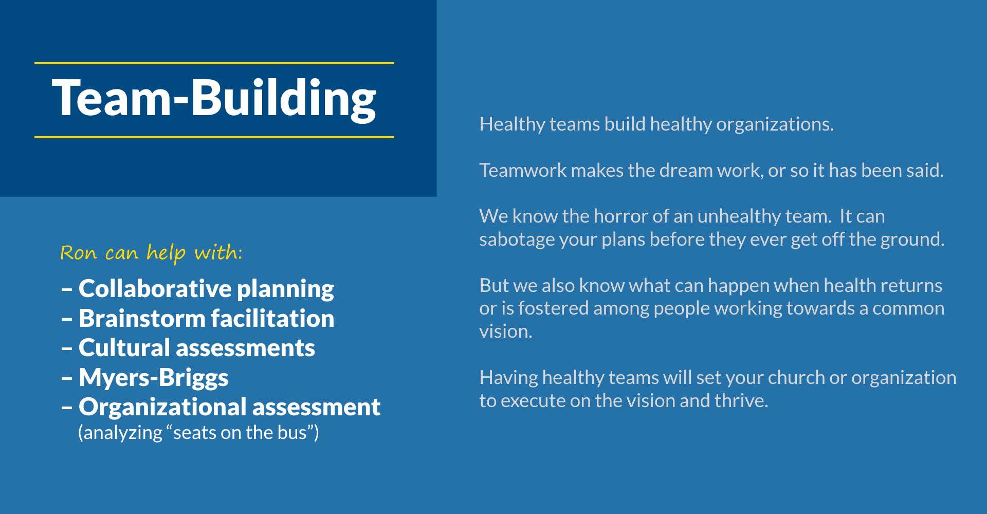5T Leadership - Team Building - Ron Edmondson Leadership Coaching