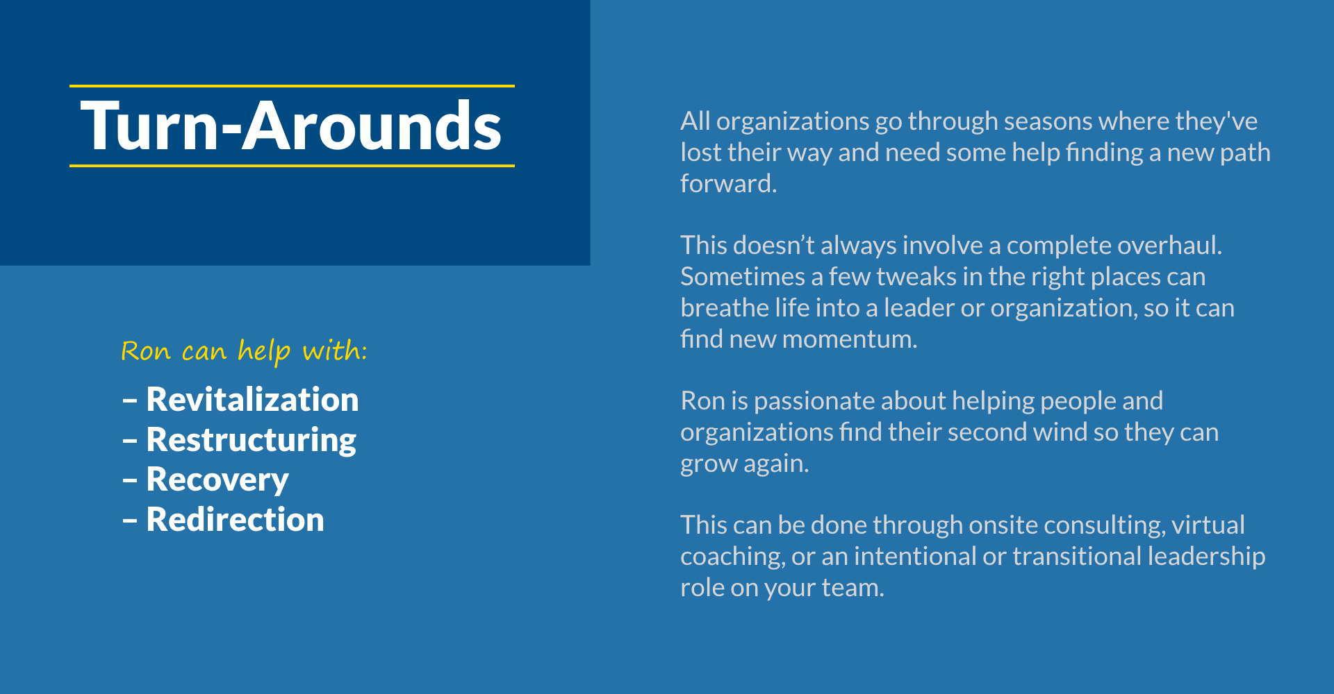 5T Leadership - Turn Arounds- Ron Edmondson Leadership Coaching