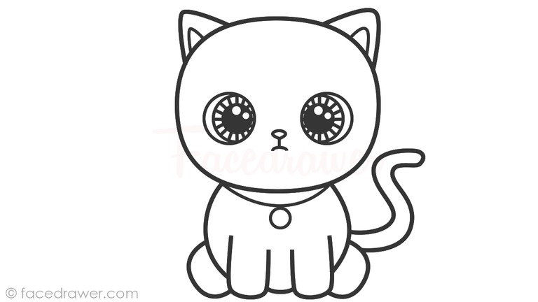 how to draw cute cat step 10
