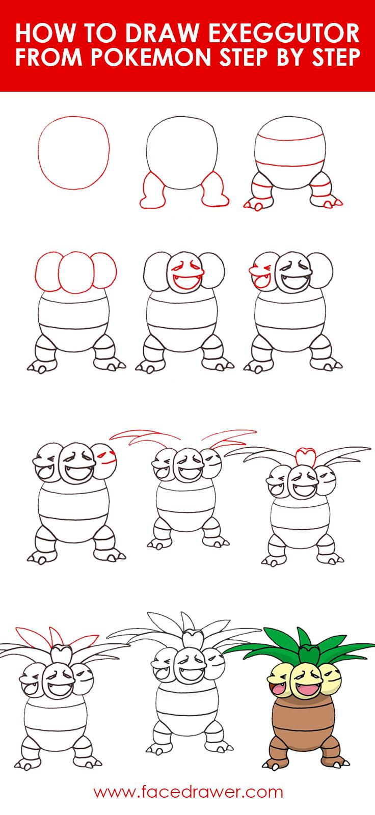 how to draw exeggutor pokemon step by step
