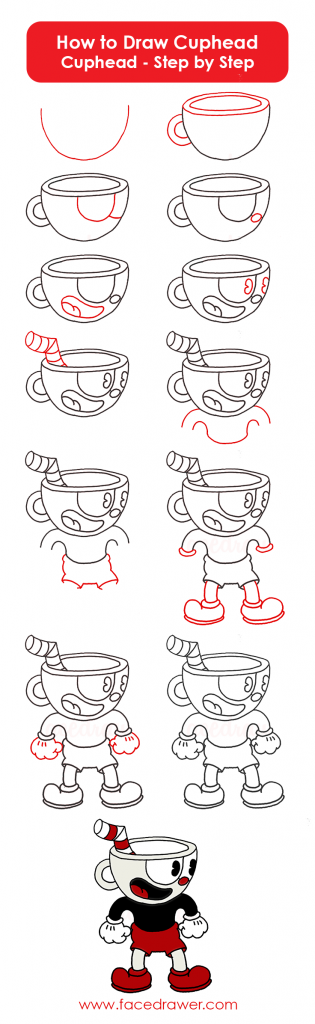how to draw cuphead step by step
