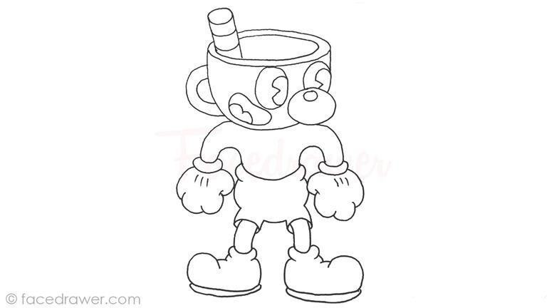 how to draw mugman cuphead step 13