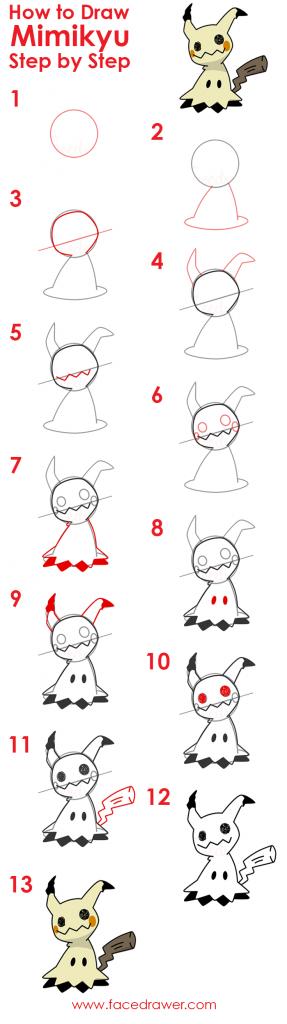 how to draw mimikyu step by step infographic