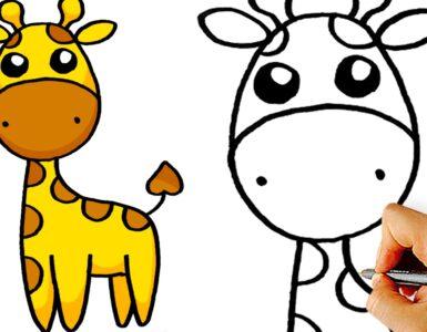 how to draw cute cartoon giraffe step by step