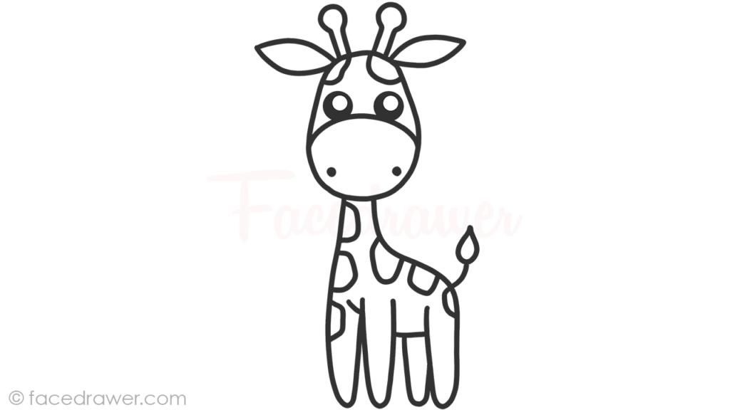 how to draw cute giraffe step 9