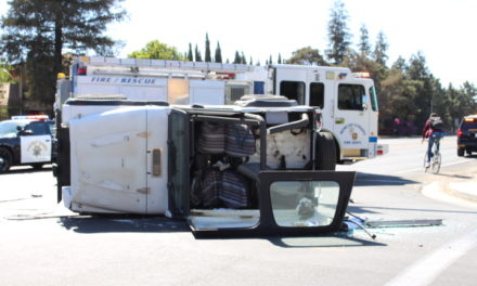 Vehicle collision results in one vehicle on its side in Winton