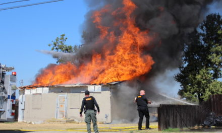 Structure fire in Winton