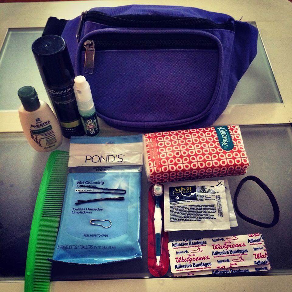 My bridesmaid survival fanny pack kit!