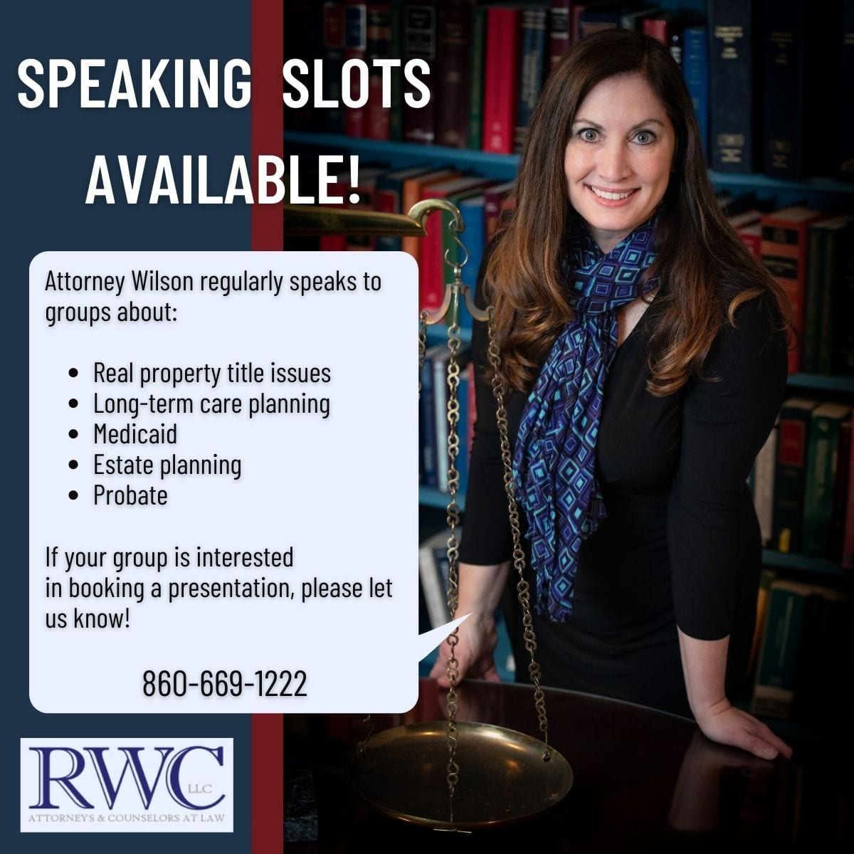 speaking slots available with attorney Wilson