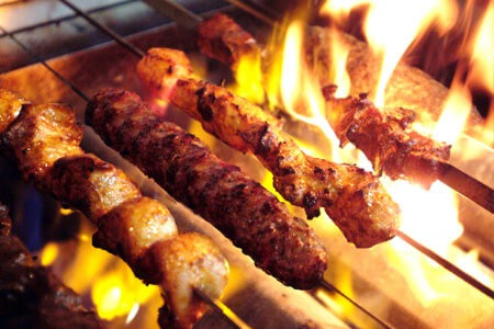 Kabobs on a flaming grill