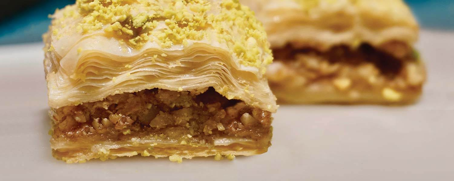 Close-up of 2 pieces of Baklava