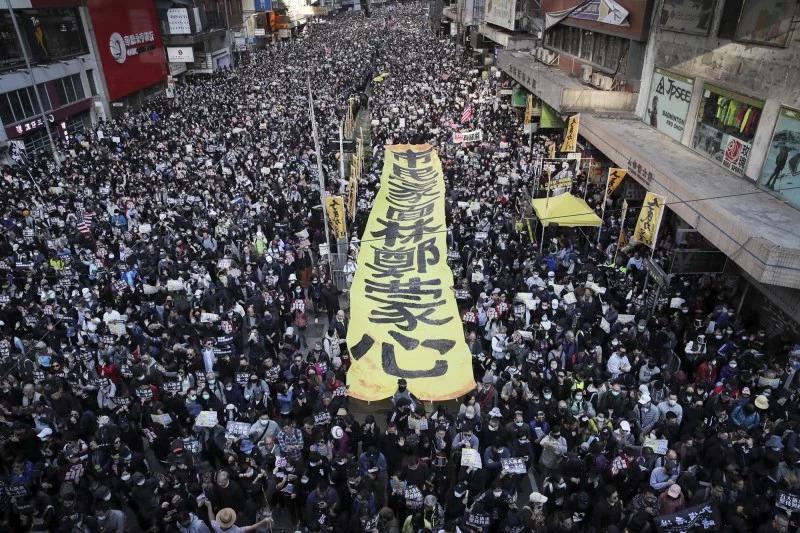 香港12月8日80万人大游行