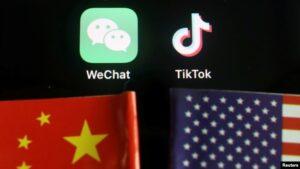 美中国旗与tiktok和微信的app