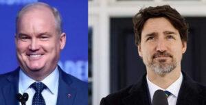 加拿大保守党领袖艾林·奥图尔与加总理特鲁多资料图片