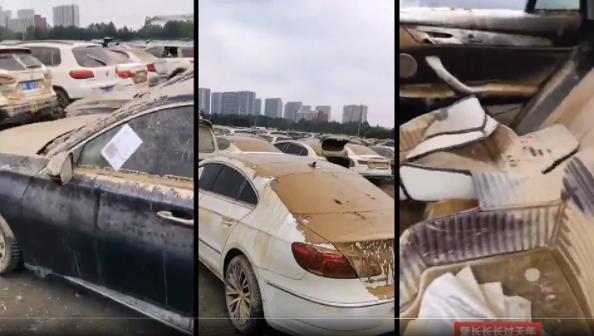 郑州大洪水后京广隧道拖出的无数无人认领的泡水车