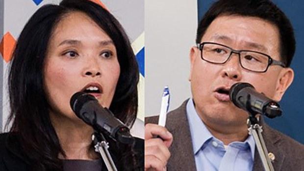 加拿大国会前议员赵锦荣(右)和现任议员关慧贞(左) 多次公开批评中国侵犯人权,在大选中成了被中共攻击目标。
