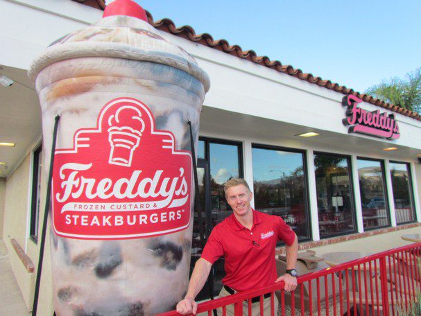 The Man behind Freddy's Restaurant and a Very Large Custom Inflatable