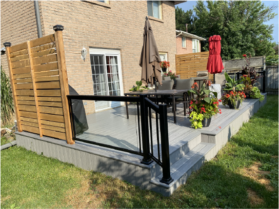 Deck with a railing