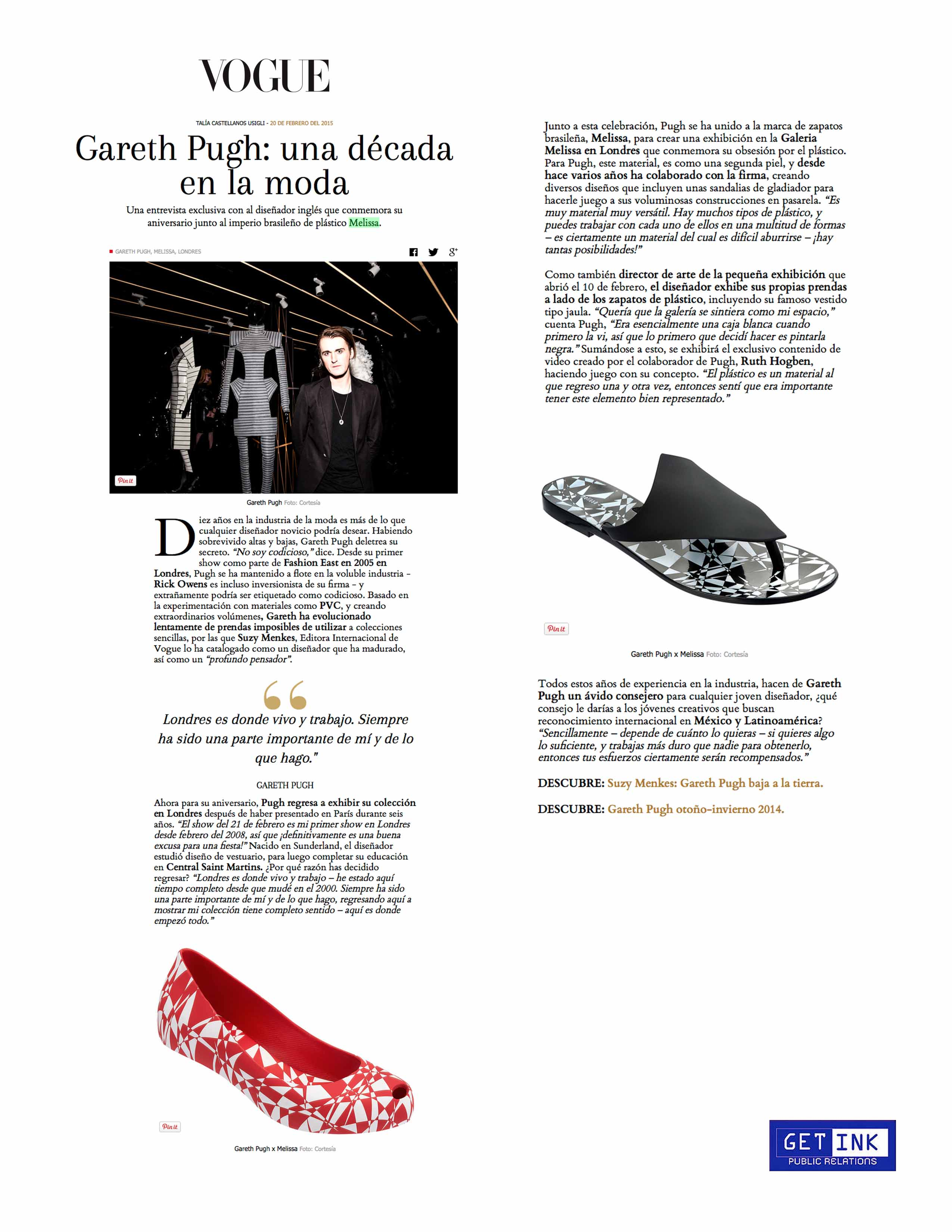 Melissa Shoes Vogue Mexico - Get Ink PR