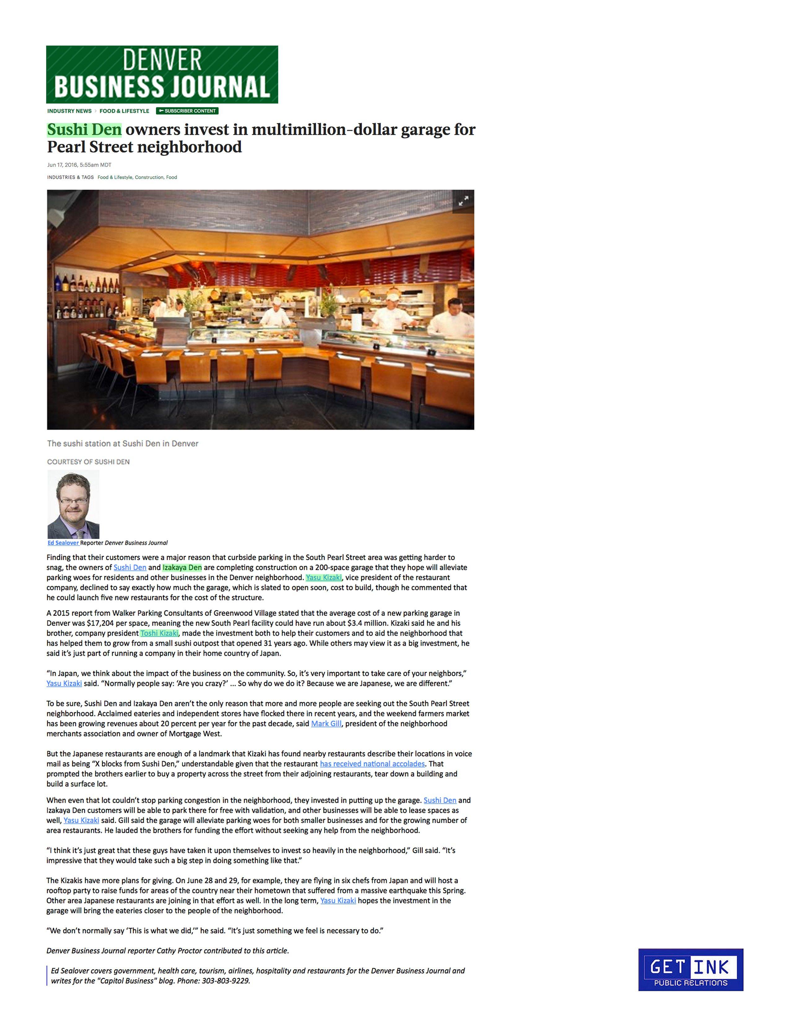 Sushi Den Denver Rooftop Summer Party Denver Business Journal - Get Ink PR