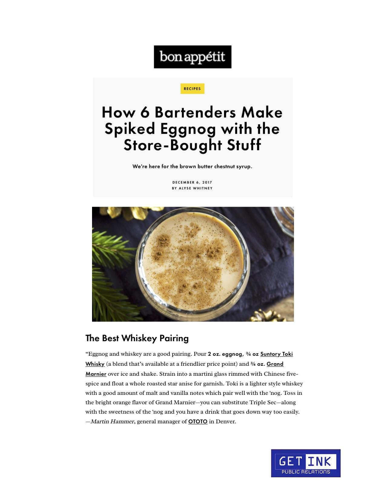 Ototo Den Denver Eggnog Bon Appetit Magazine - Get Ink Pr