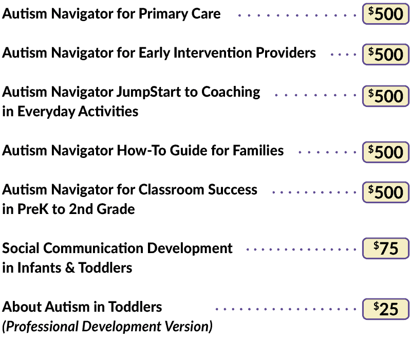Pricing for Autism Navigator Courses