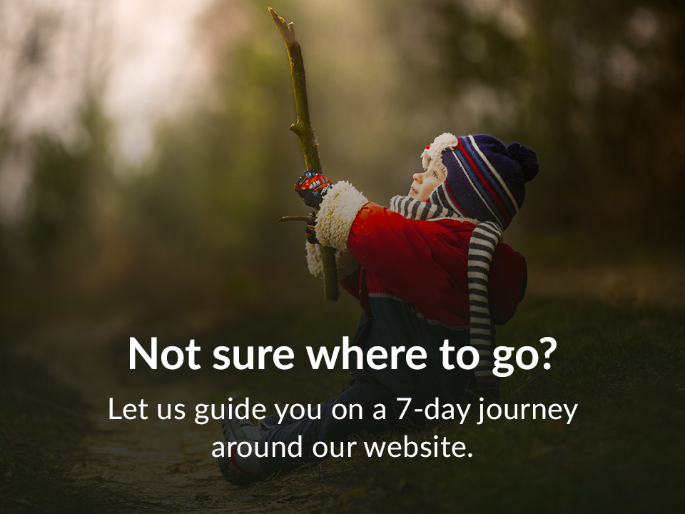 Let us guide you on a 7-day journey around our website.