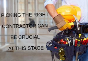 Closeup of contractor holding tools on his belt the caption says picking the right contract can be crucial at this stage