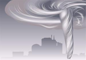 tornado and cityscape
