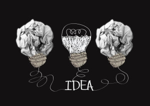 concept crumpled paper light bulb metaphor for good idea