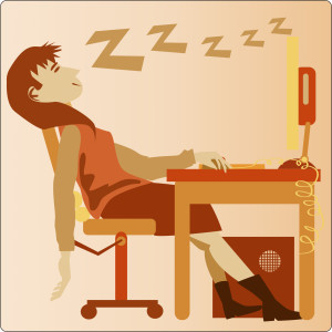 Digital illustration of a female office worker sleeping at her desk.