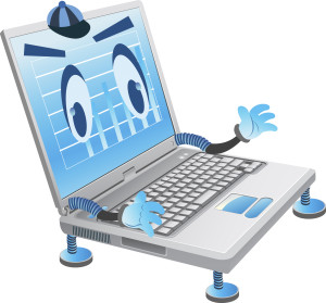 digital image of laptop with human hands and eyes