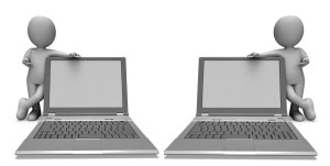 Laptop With Copyspace Showing Browsing And Surfing Web Online