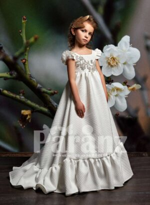 A-line long dobby dress with ruffle ending and rhinestone work bodice