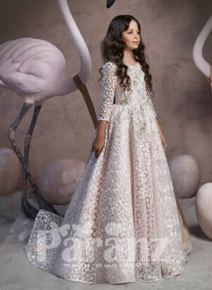 All over appliquéd beautiful long trail tulle skirt dress