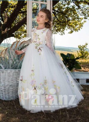 All over flower appliquéd full sleeve tulle skirt dress in white