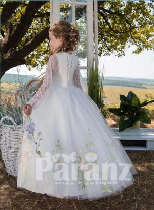 All over flower appliquéd full sleeve tulle skirt dress in white side view