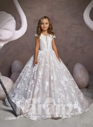All over white flower appliquéd long gown with tulle underneath skirt and beautiful bodice