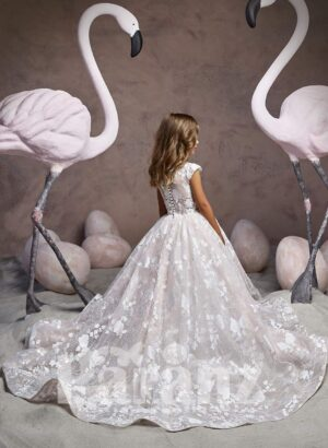 All over white flower appliquéd long gown with tulle underneath skirt and beautiful bodice back side view