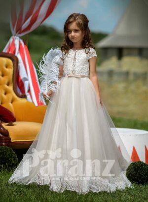 Appliquéd hem long tulle skirt dress with glitz net woven satin-sheer bodice