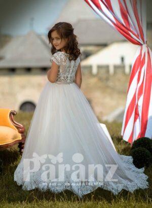 Appliquéd hem long tulle skirt dress with glitz net woven satin-sheer bodice BACK SIDE VIEW