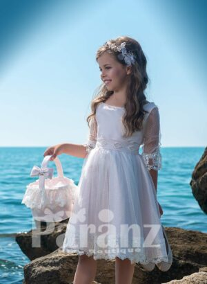 BEAUTIFUL TEA LENGTH TULLE SKIRT DRESS WITH SATIN BODICE AND SHEER SLEEVES