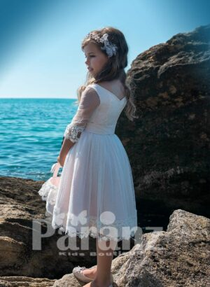 BEAUTIFUL TEA LENGTH TULLE SKIRT DRESS WITH SATIN BODICE AND SHEER SLEEVES SIDE VIEW