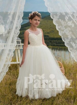 Beautiful appliqué bodice and organza tulle skirt dress in white