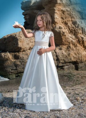 Beautiful long satin gown with stylish sheer back and mid belt