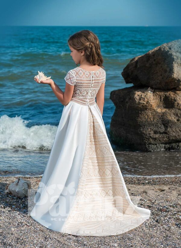 Beautiful long satin gown with stylish sheer back and mid belt side view