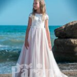 Beautiful long trail pink tulle skirt dress with stylish satin-sheer appliquéd bodice for girls