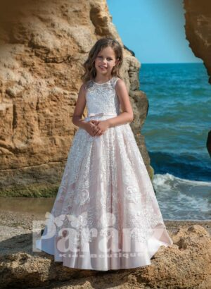Beautiful metal pink satin gown dress with all over lace cover