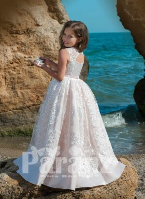 Beautiful metal pink satin gown dress with all over lace cover side view